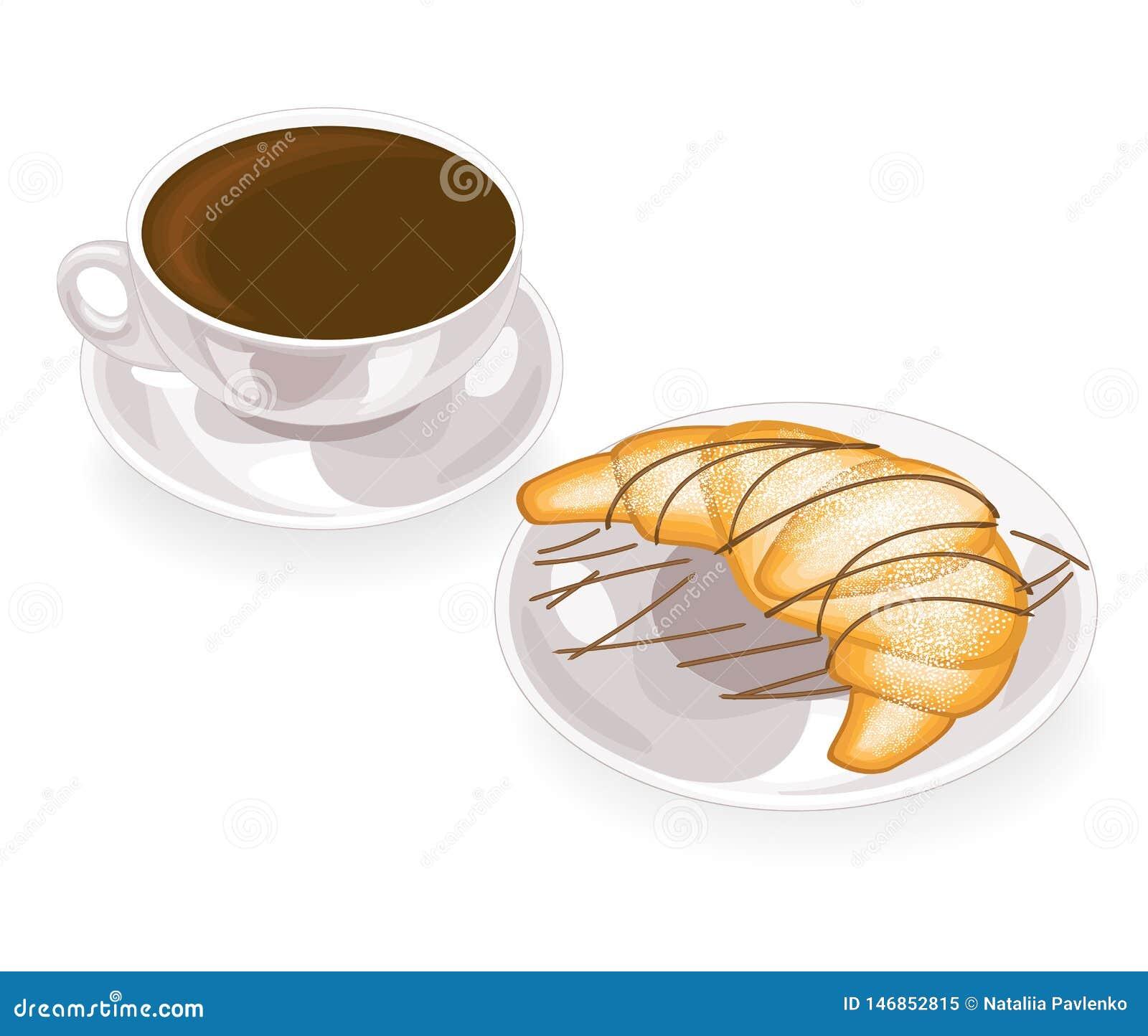 Una tazza di caffè nero delizioso e di un croissant fresco su un piatto con cioccolato Illustrazione di vettore