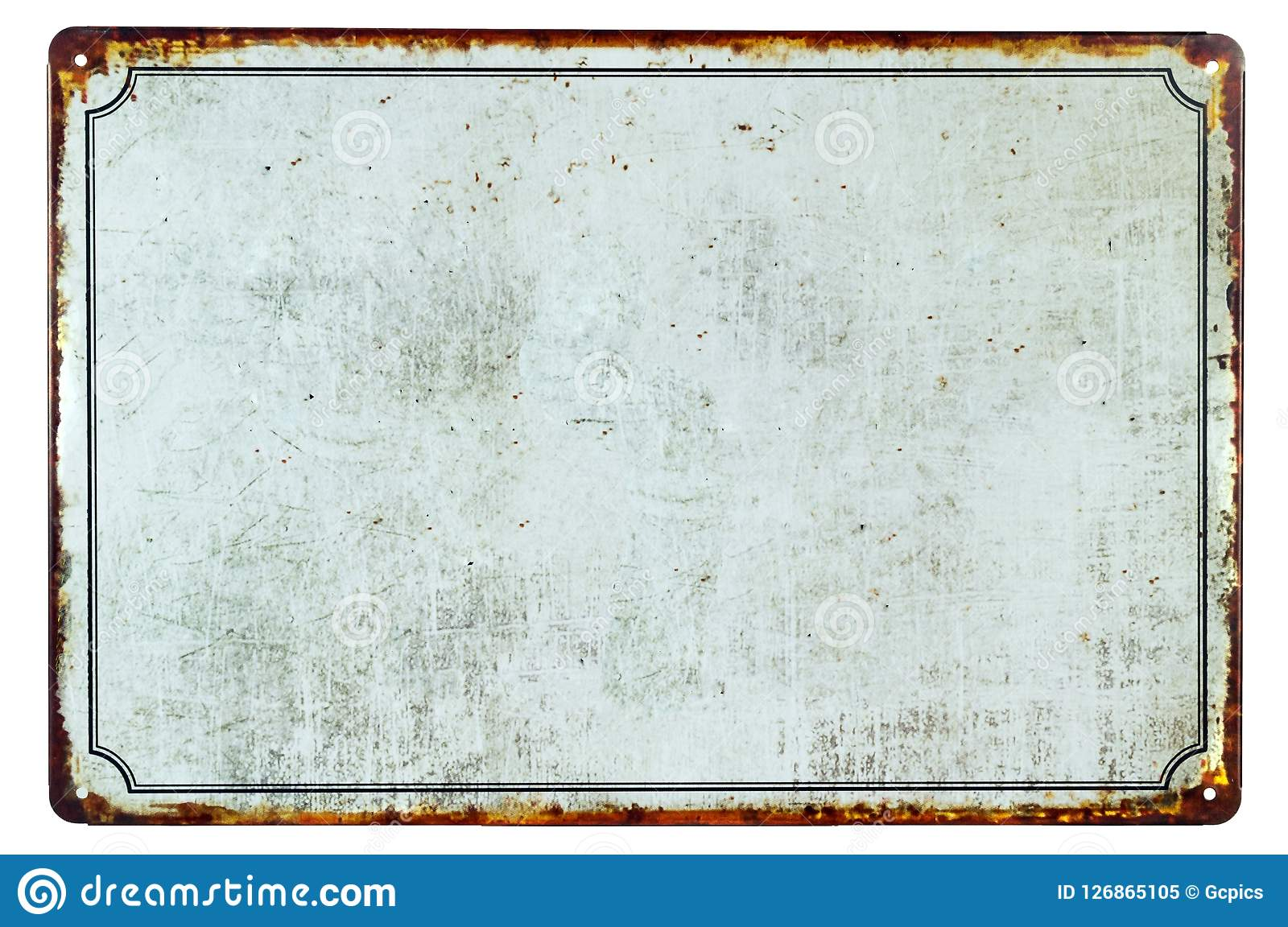 Una vieja muestra oxidada en blanco del metal