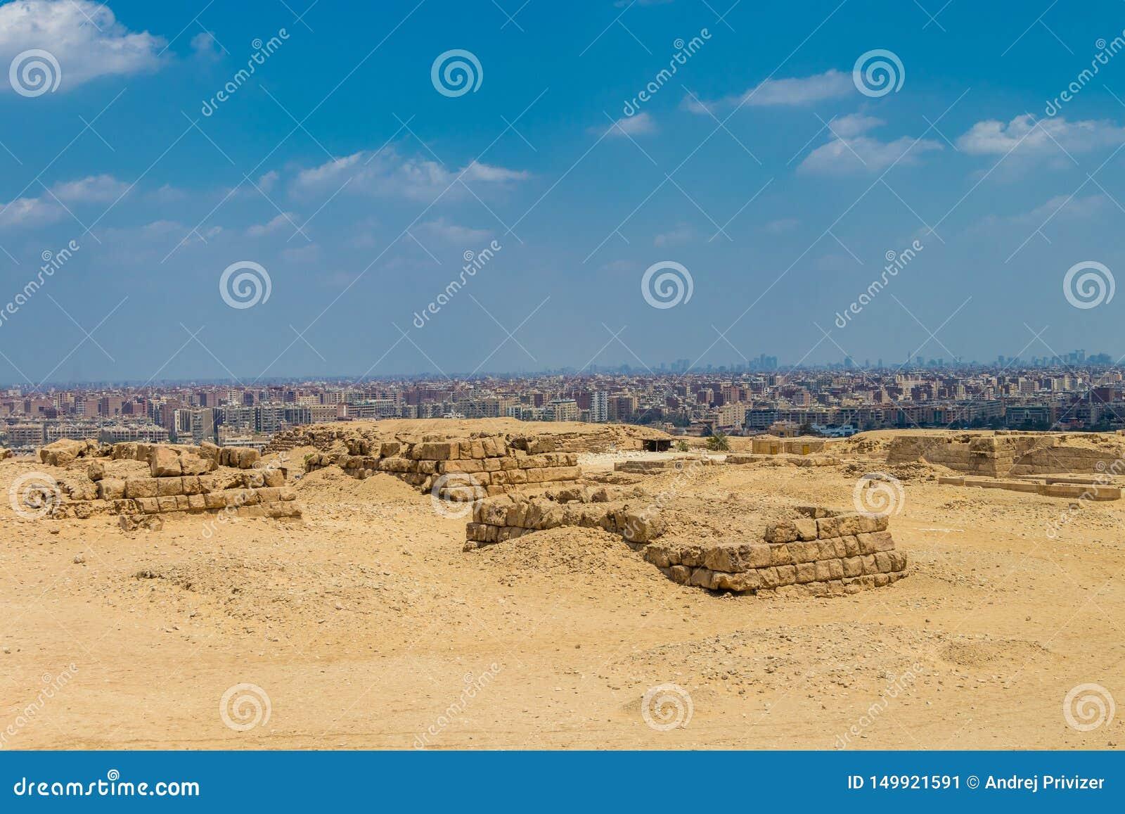 Una vista de la ciudad de El Cairo de la colina, Egipto