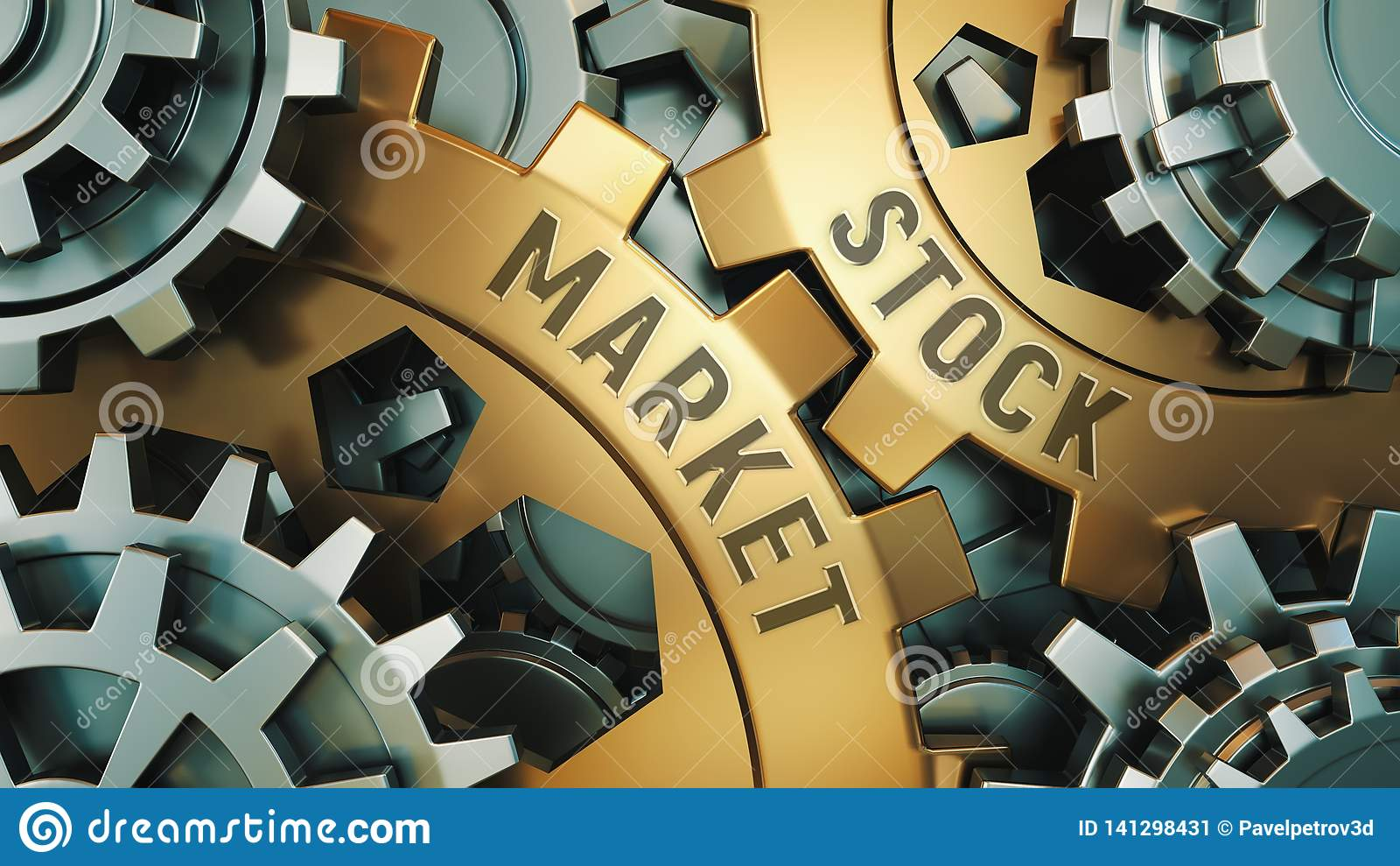 Una vista del primo piano di due ruote dentate dorate con le parole: mercato azionario, concetto di affari Meccanismo di ingranag