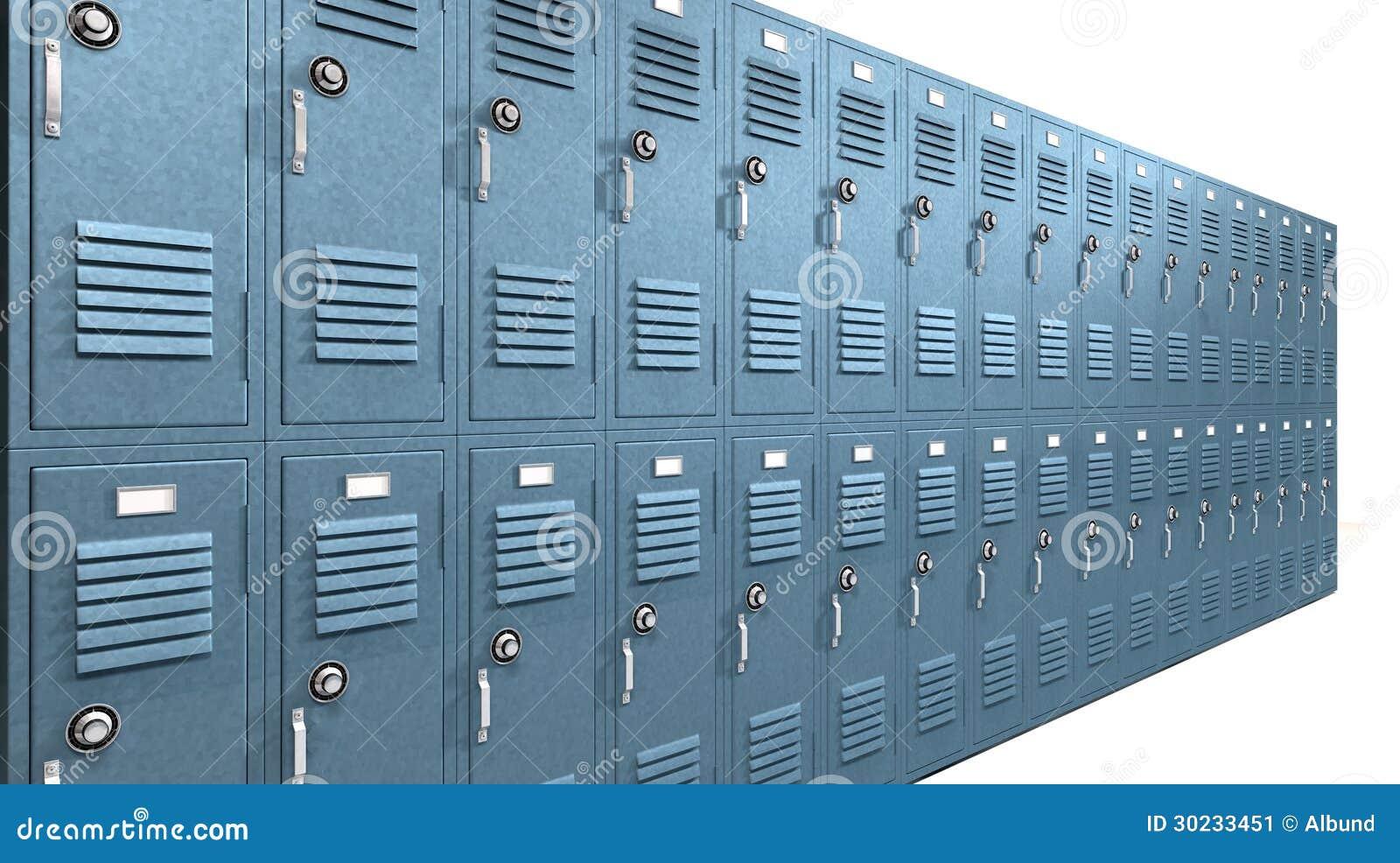 Prospettiva blu degli armadi della scuola illustrazione di stock