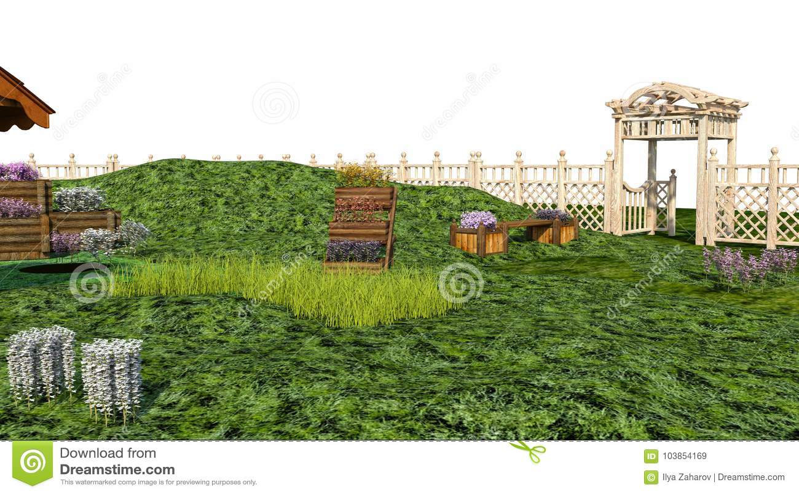 Simple una vista di una un piccolo giardino con le erbe e - Idee giardino senza erba ...