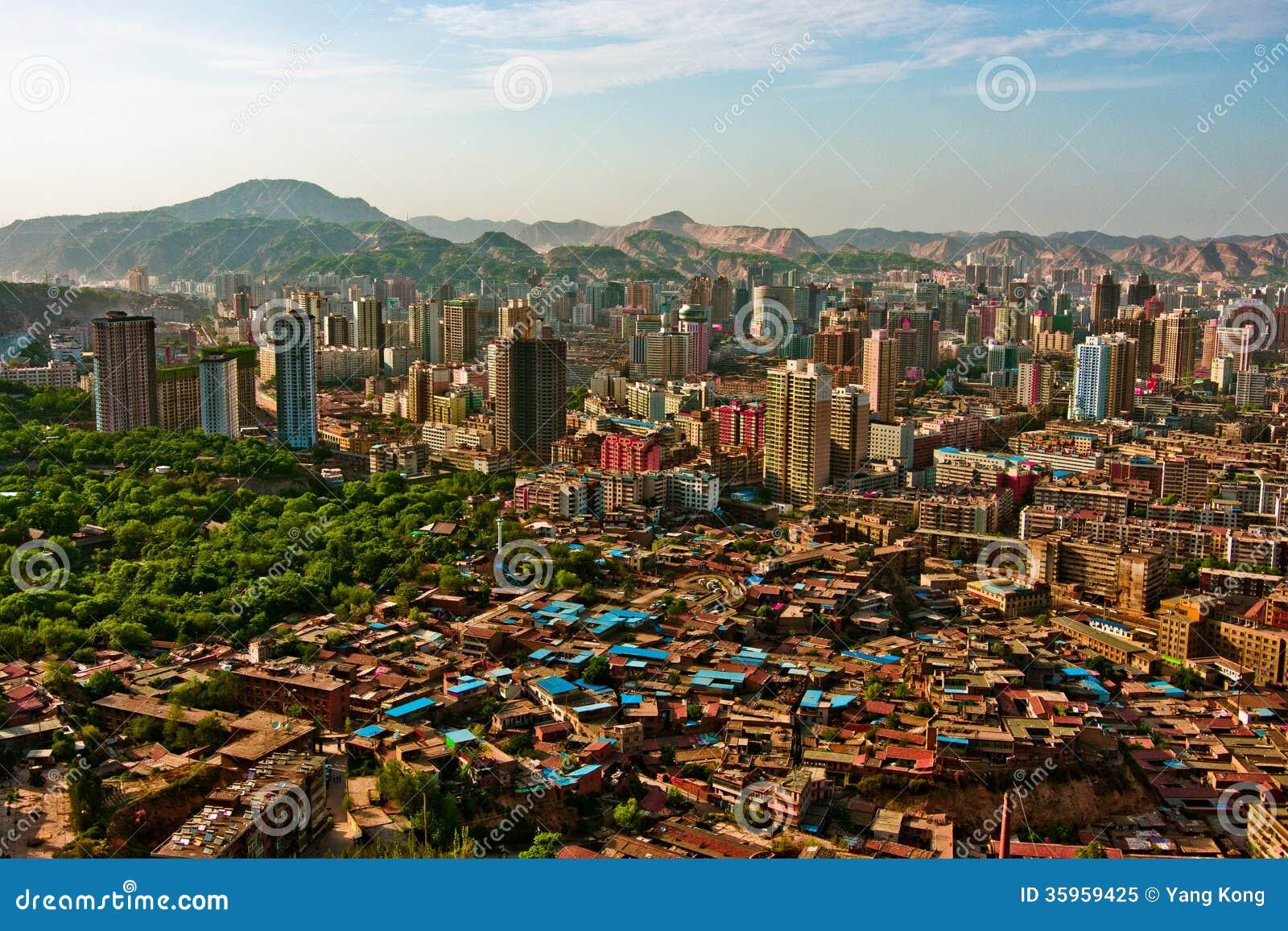 Una vista panorámica de la ciudad, Lanzhou, Gansu, China