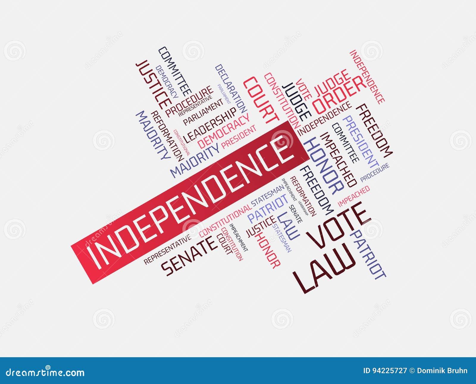 Unabhängigkeit Bild Mit Den Wörtern Verbunden Mit Der Thema