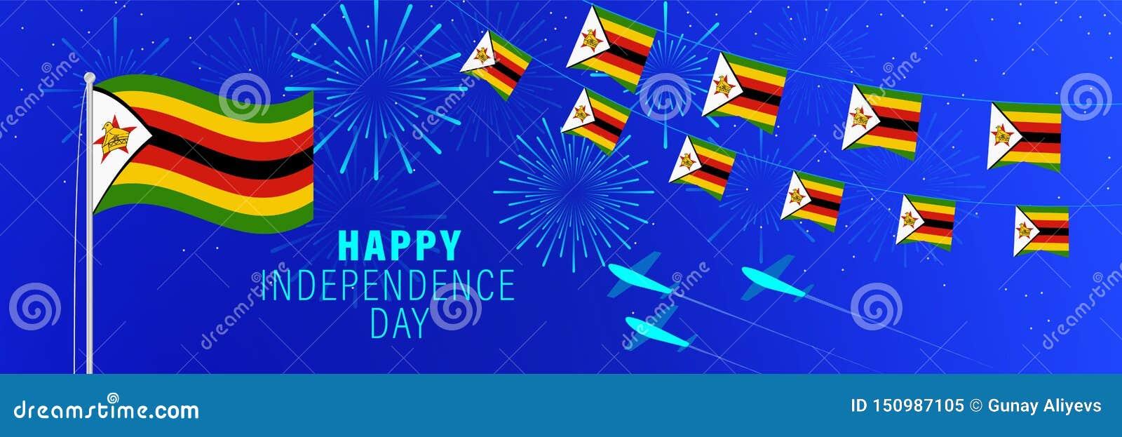 Unabhängigkeitstag-Grußkarte Aprils 18 Simbabwe Feierhintergrund mit Feuerwerken, Flaggen, Fahnenmast und Text