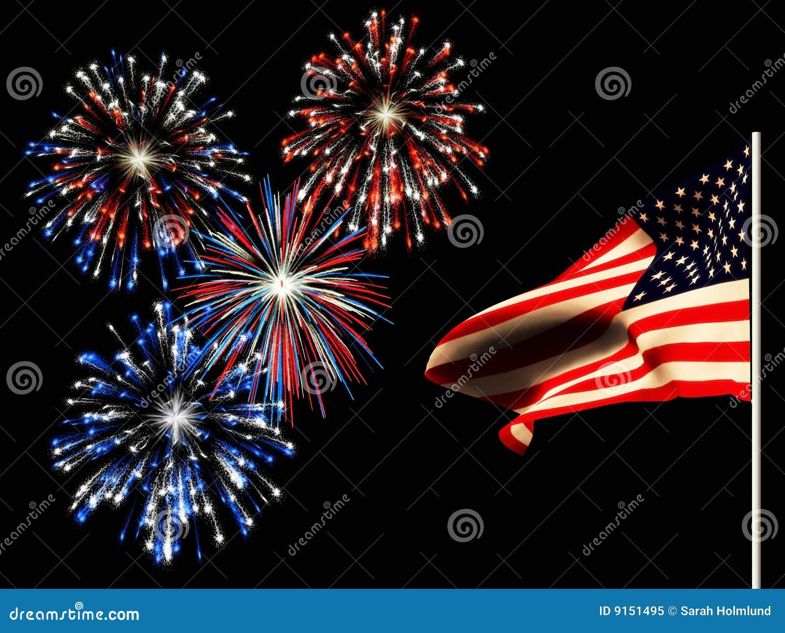 Unabhängigkeitstagfeuerwerke und die amerikanische Flagge.