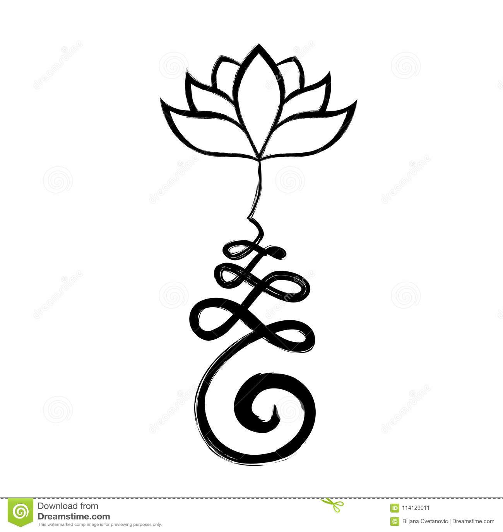 Unalome Life Path With Lotus Flower Stock Illustration