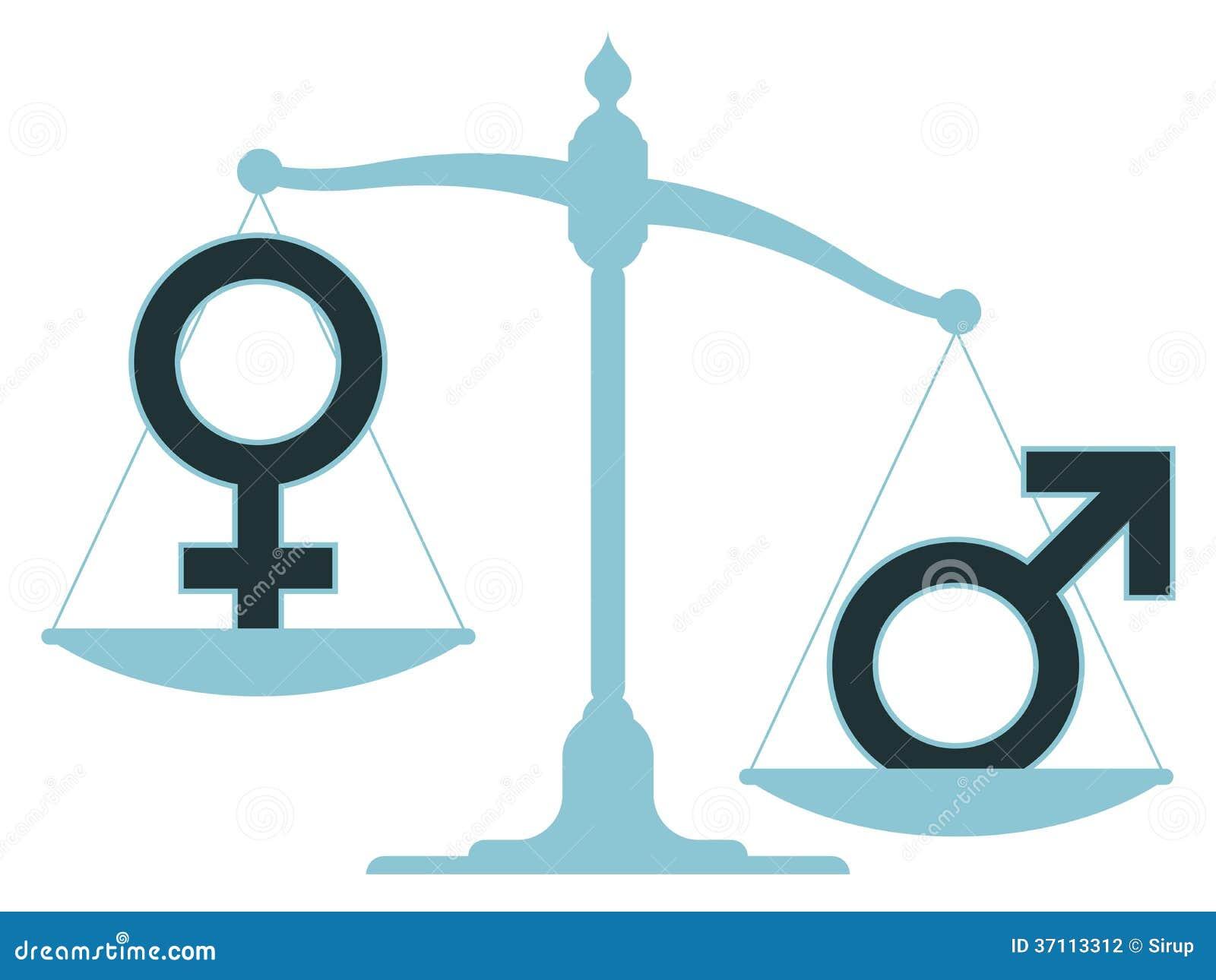 Unausgeglichene Skala mit den männlichen und weiblichen Ikonen