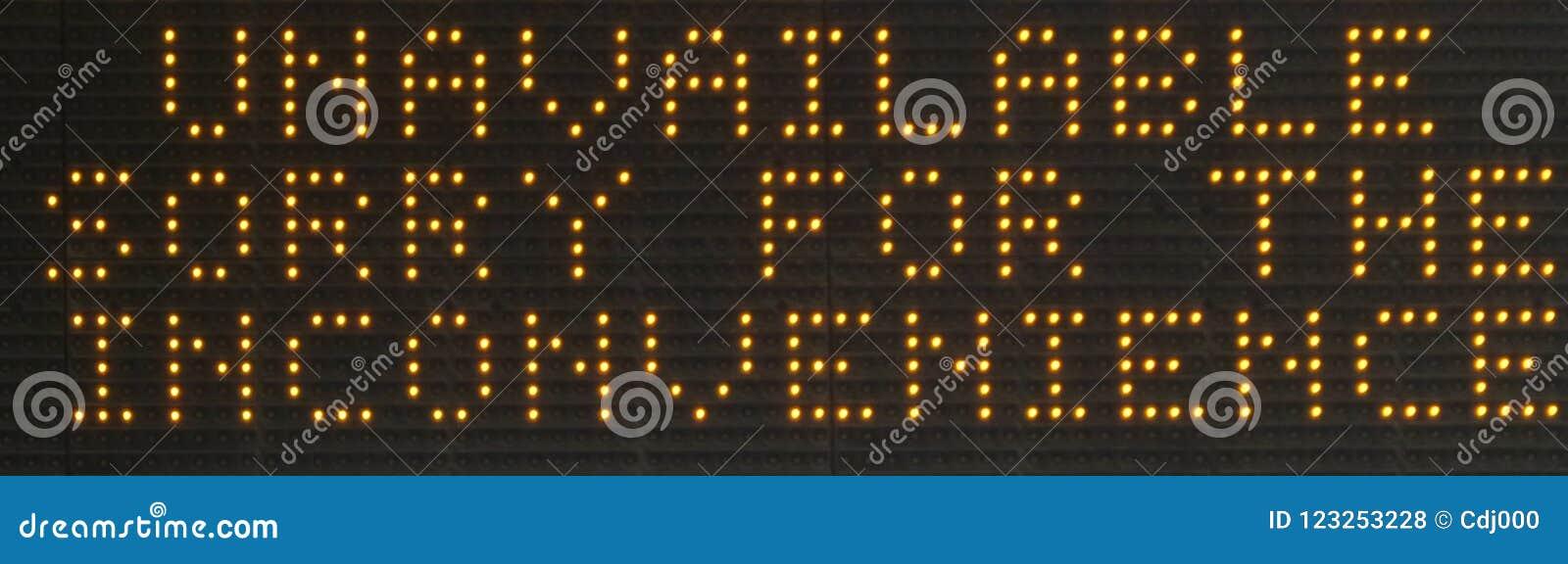 `Unavailable` LED dot matrix sign display