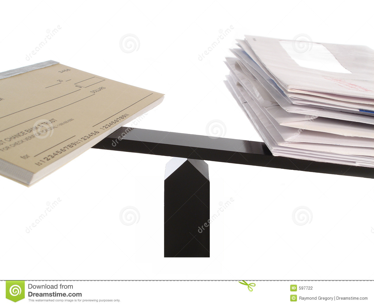 Unbalanced Checkbook And Bills Stock Photography - Image ...