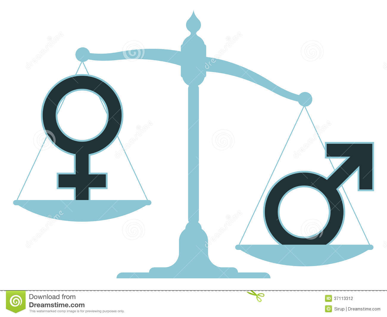Unbalanced Scale With Male And Female Icons Stock Vector ...