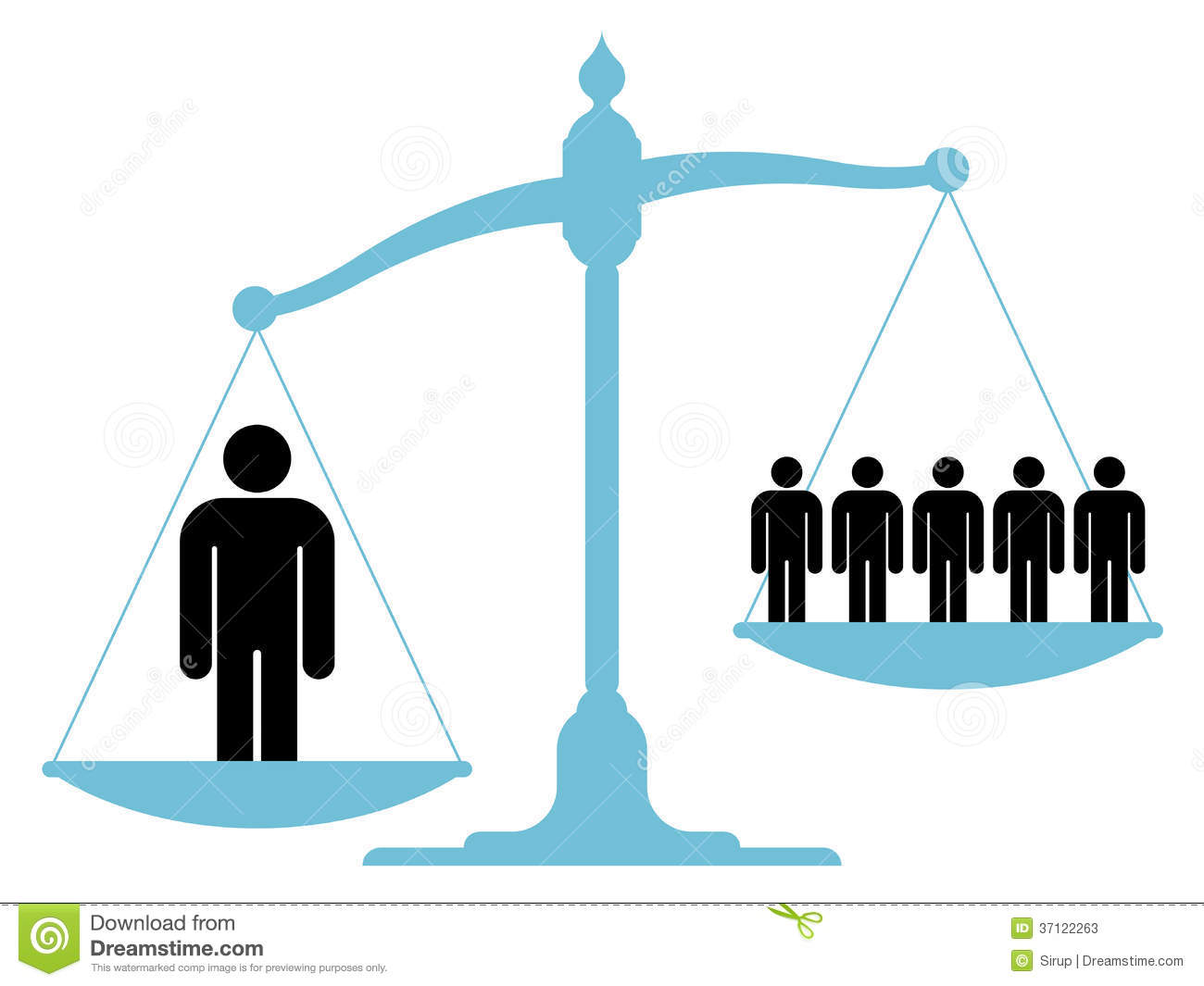 unbalanced scale with a single man and a group stock Unbalanced Scale Cartoon Funny Unbalanced Scale