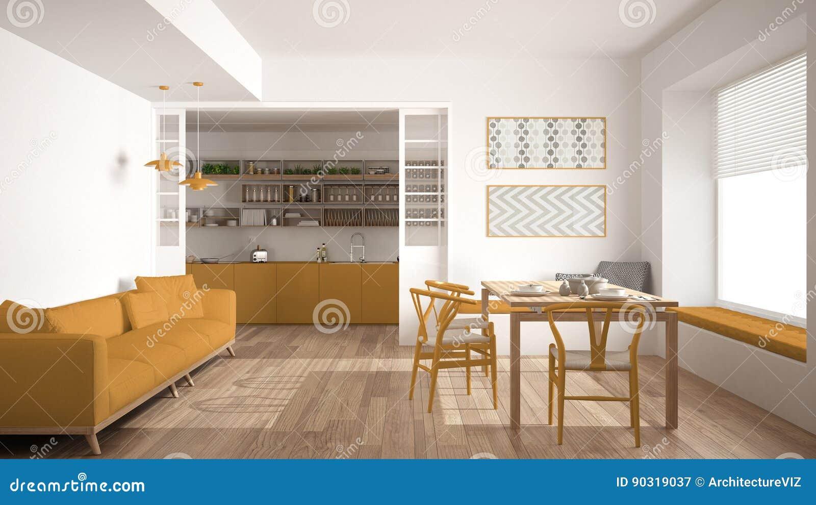 Unbedeutende Küche Und Wohnzimmer Mit Sofa, Tabelle Und ...