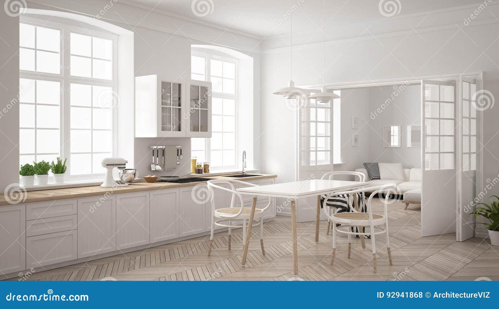 Unbedeutende Skandinavische Weisse Kuche Mit Wohnzimmer Im Ba