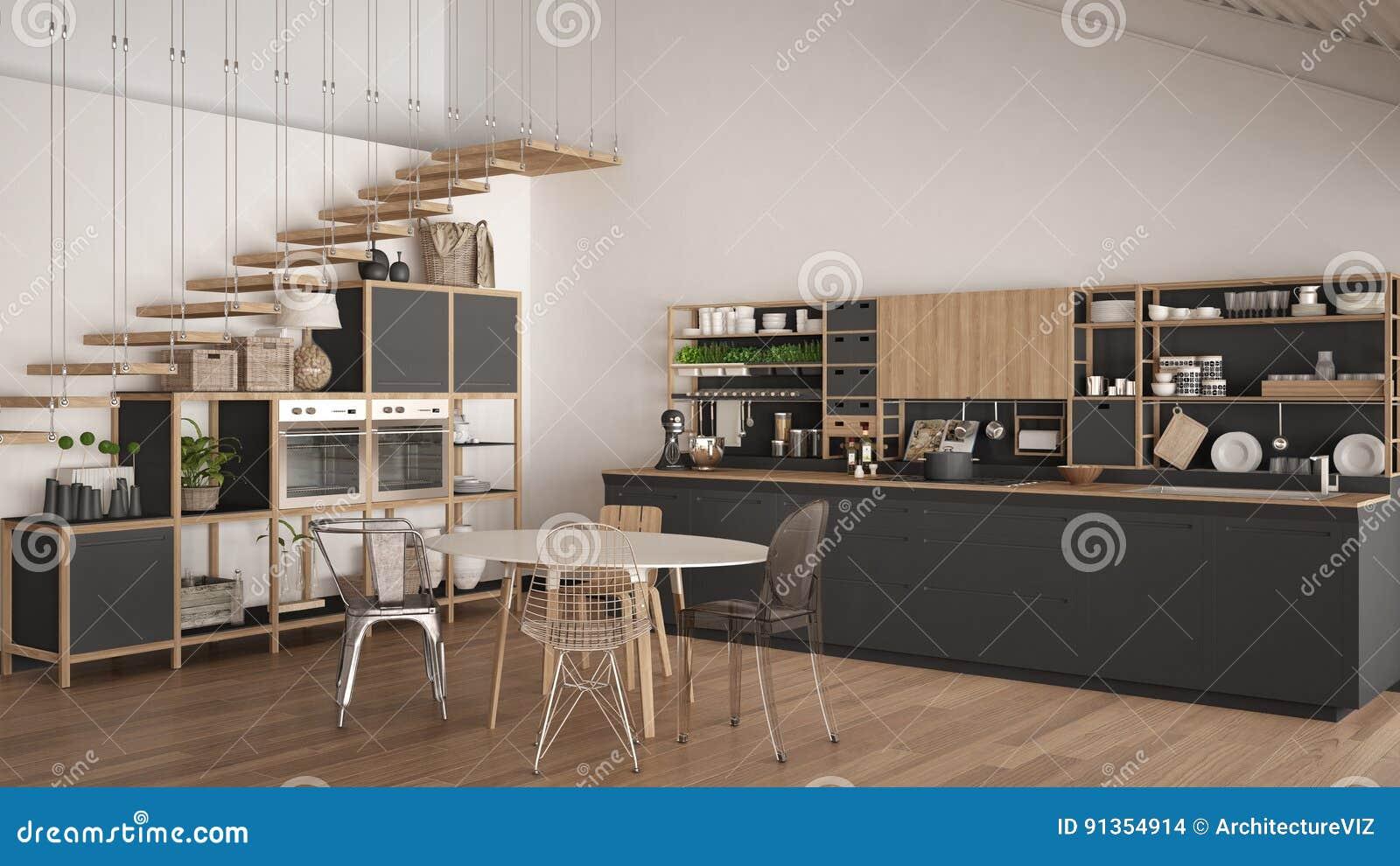Download Unbedeutende Weiße Und Graue Hölzerne Küche, Dachboden Mit Treppe,  Clas Stock Abbildung