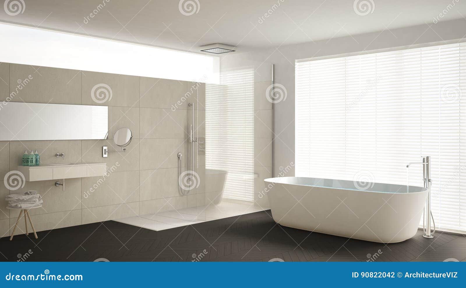 Unbedeutendes Badezimmer Mit Badewanne Und Dusche ...
