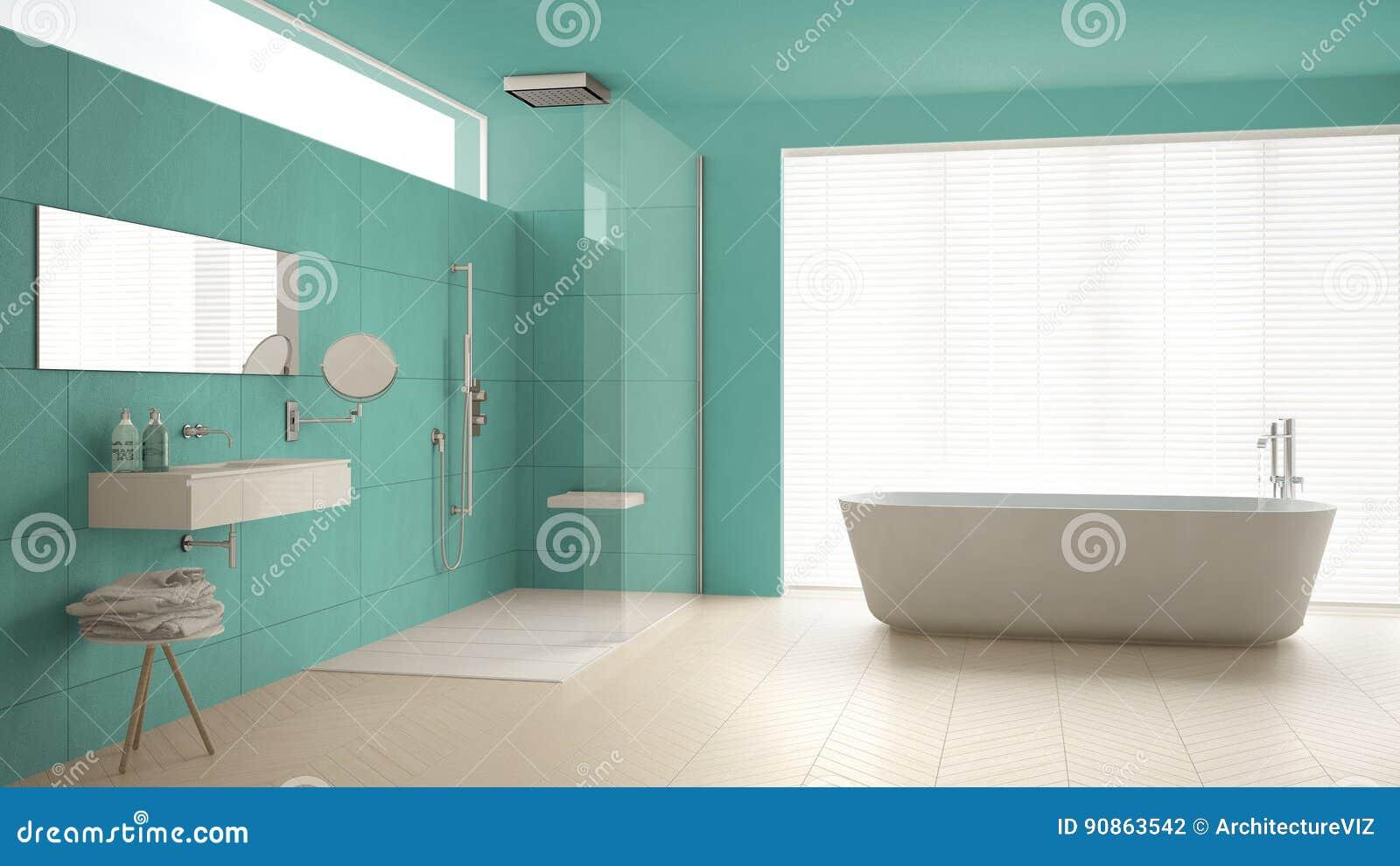 unbedeutendes badezimmer mit badewanne und dusche parkettboden und m stockfoto bild von. Black Bedroom Furniture Sets. Home Design Ideas