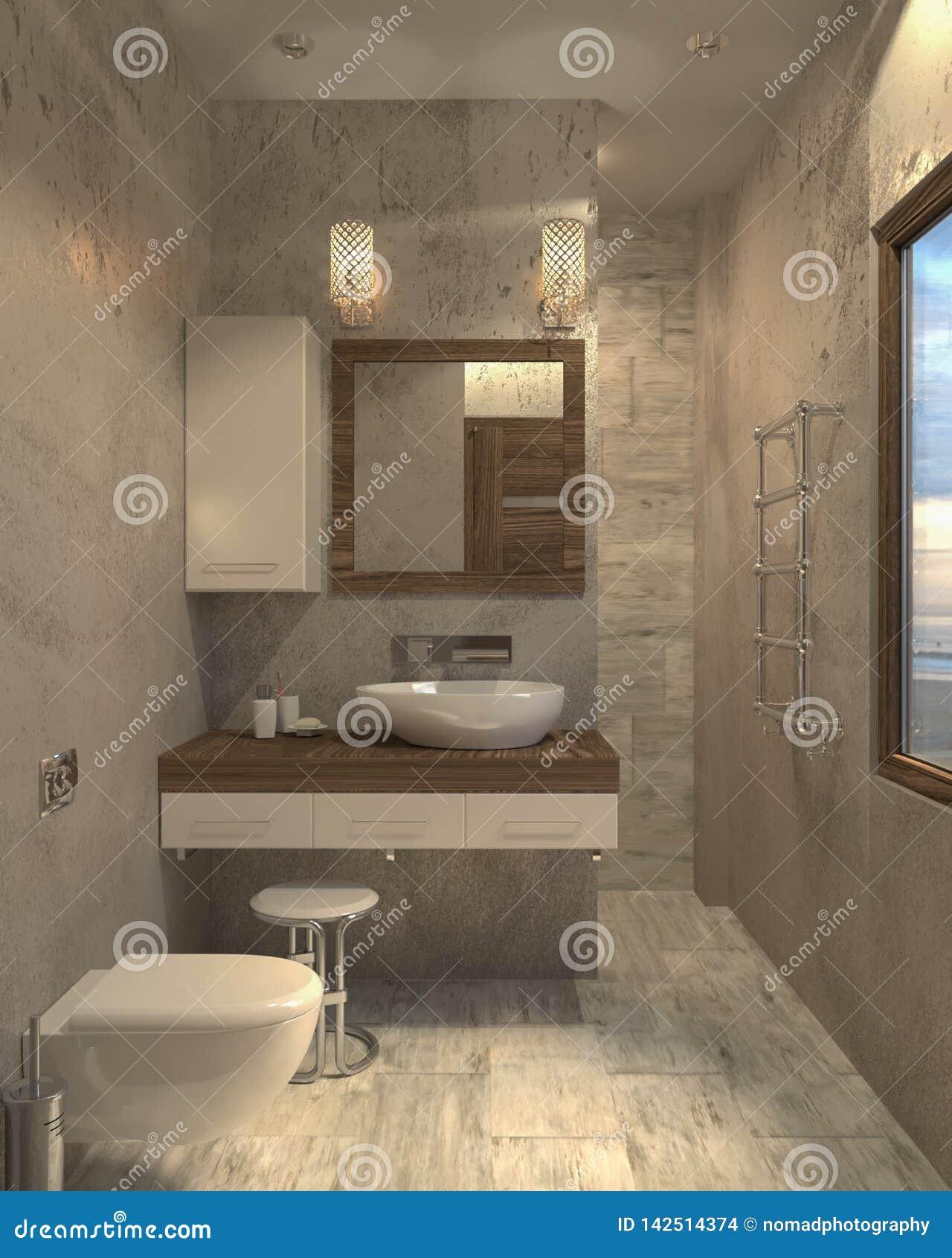 Unbedeutendes modernes Innenbadezimmer des Badezimmers 3d