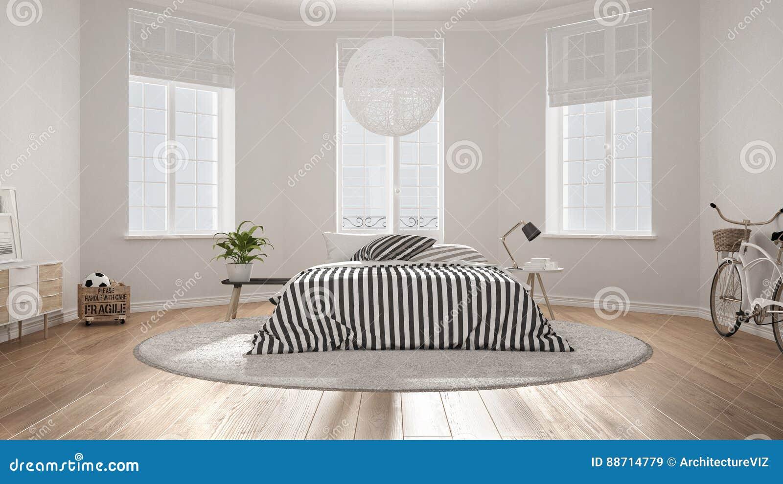 Unbedeutendes Nordisches Weißes Schlafzimmer, Klassische Moderne ...