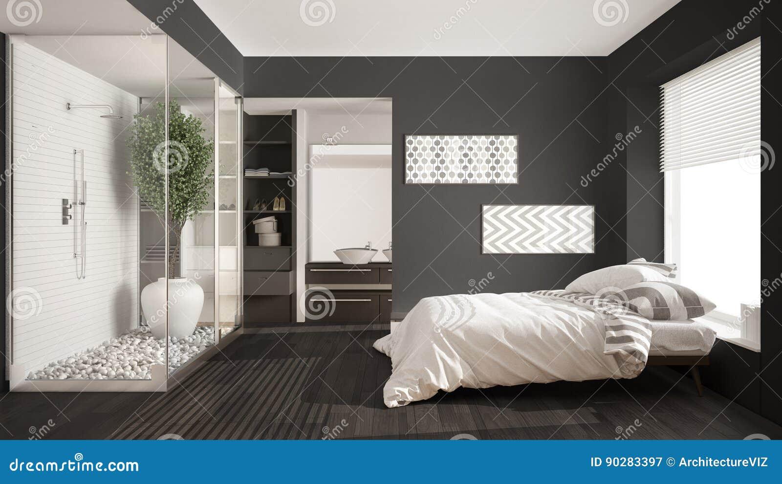 Unbedeutendes Schlafzimmer Und Badezimmer Mit Dusche Und Begehbarem ...