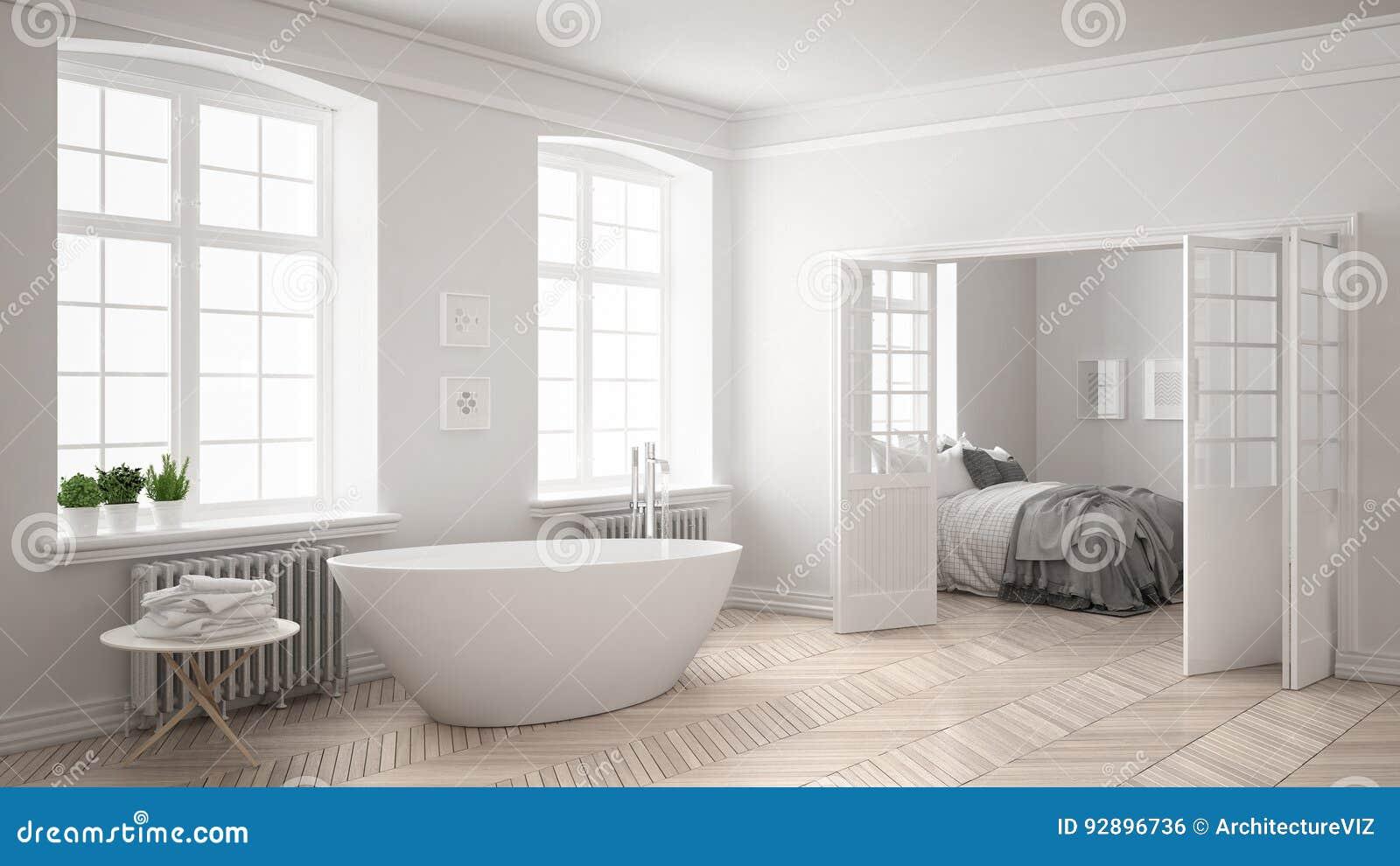 Unbedeutendes Skandinavisches Weißes Badezimmer Mit Schlafzimmer Im Backg