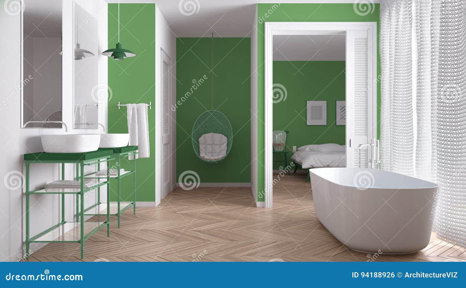 Unbedeutendes Weißes Und Grünes Skandinavisches Badezimmer Mit ...