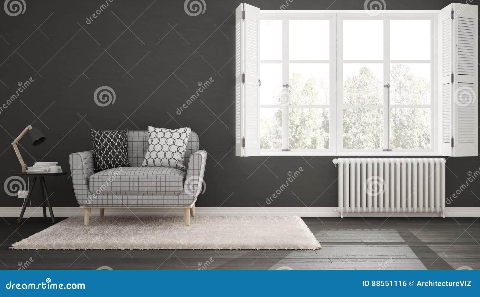 Unbedeutendes Wohnzimmer, Einfaches Weißes Und Graues Leben Mit ...