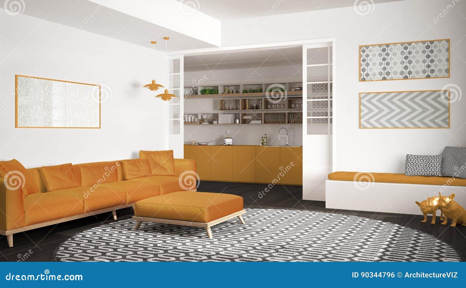 unbedeutendes wohnzimmer mit sofa, großem rundem teppich und küche