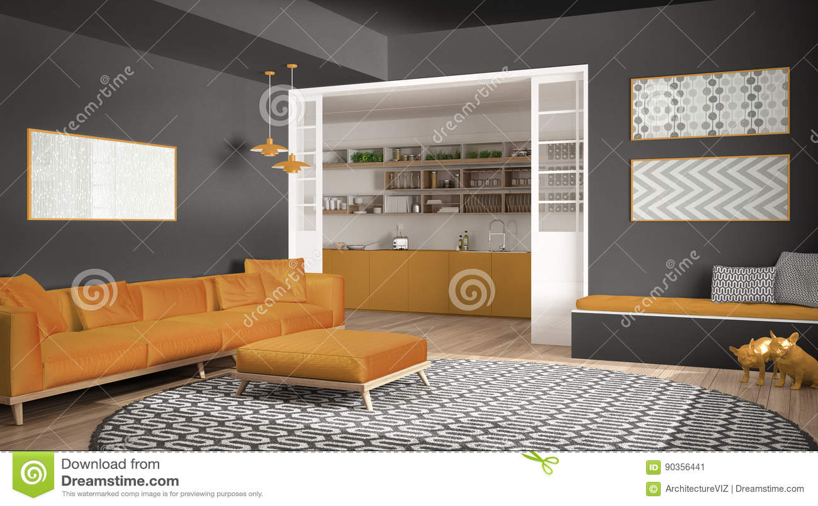 Unbedeutendes Wohnzimmer Mit Sofa, Großem Rundem Teppich Und Küche I