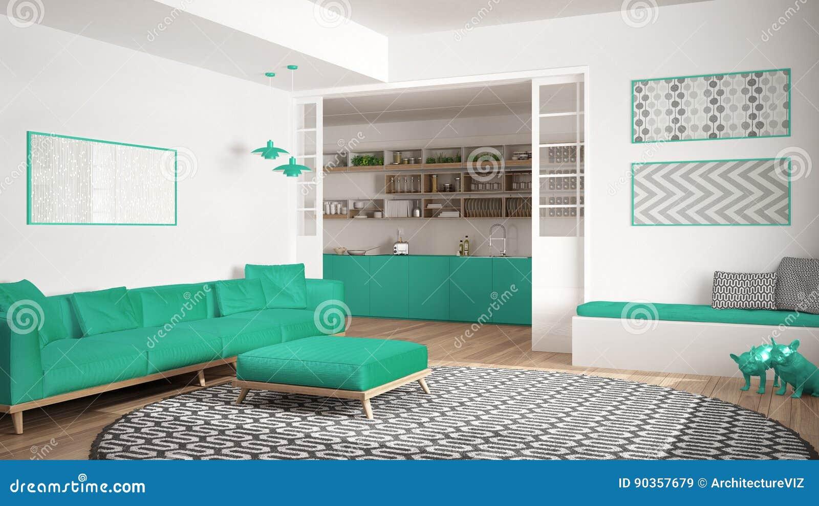 Unbedeutendes Wohnzimmer Mit Sofa, Großem Rundem Teppich Und ...