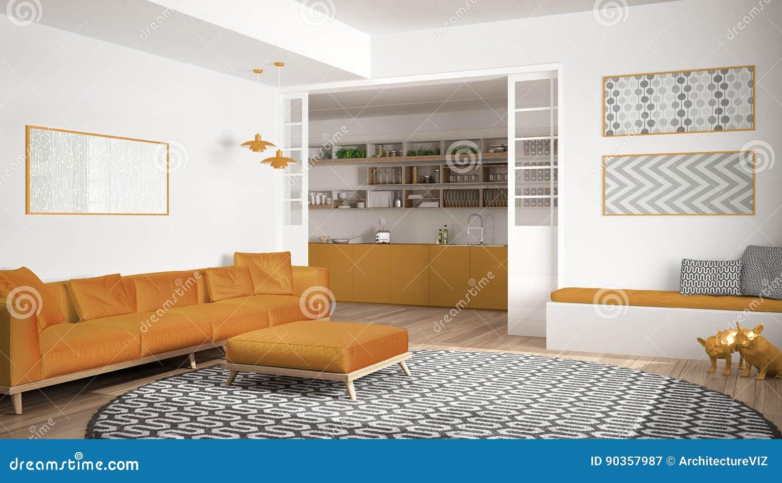 Unbedeutendes Wohnzimmer Mit Sofa, Großem Rundem Teppich Und Küche I ...