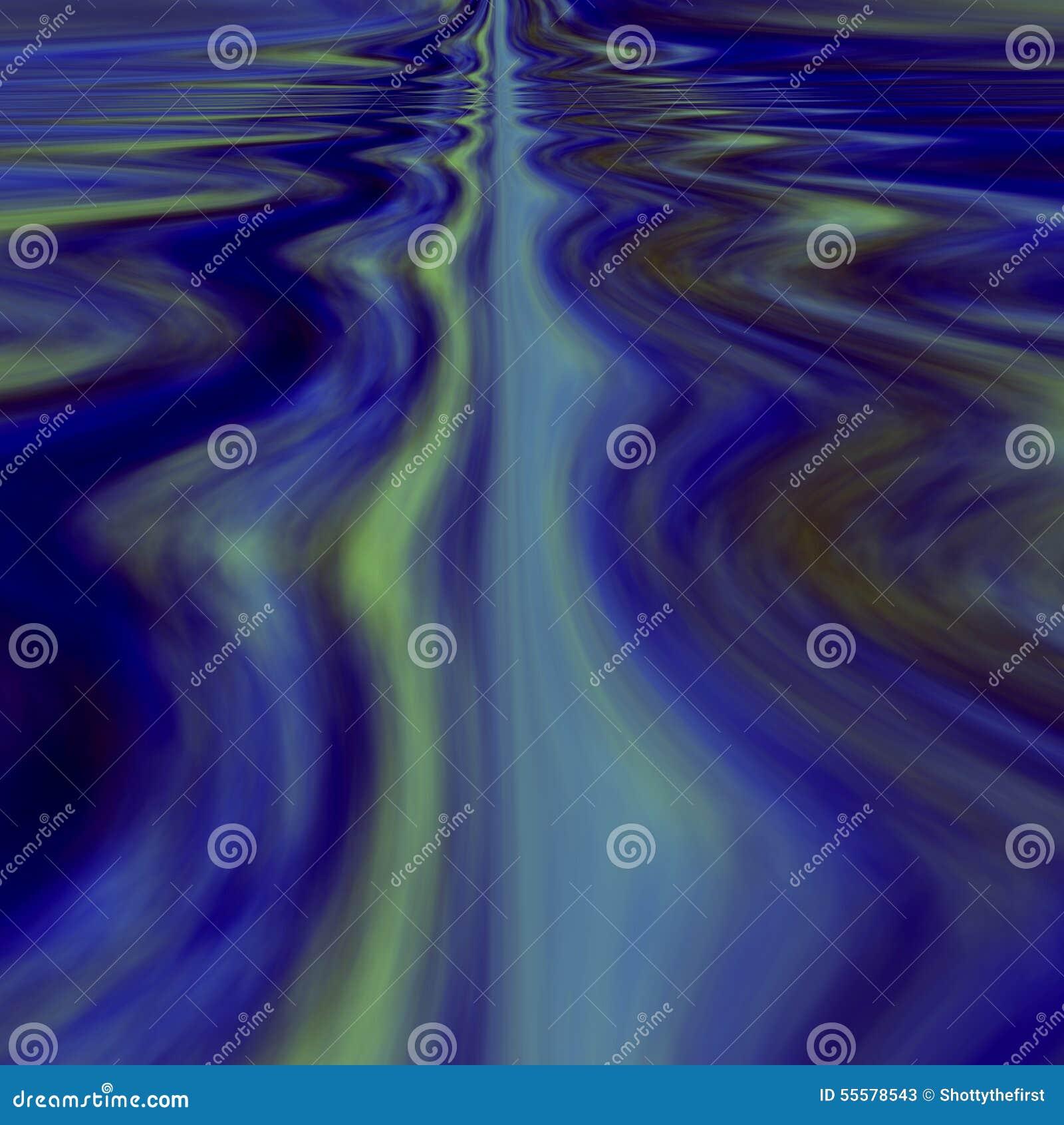 Unbegrenztes ruhiges Wasser Surrealer Traum Abstraktes Hintergrundkonzept Computergrafik-Blaukräuselungen Surrealistisches Wasser