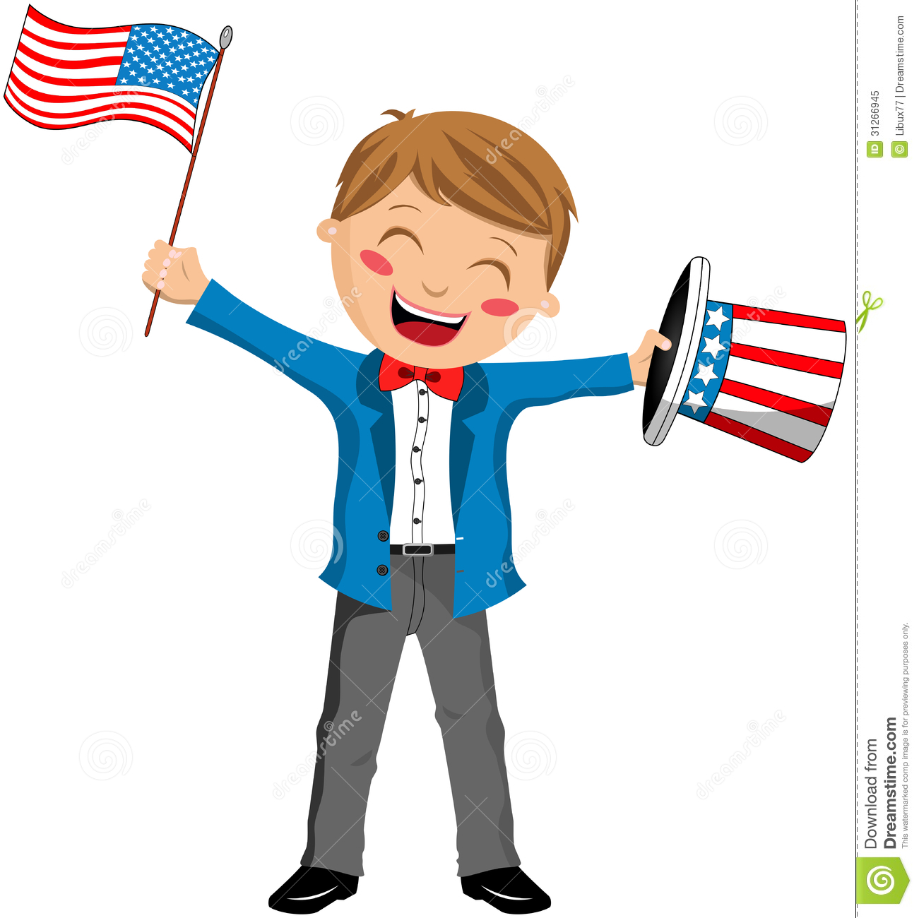 uncle sam boy with hat and usa flag stock vector declaration of independence clip art free clipart declaration of independence scroll
