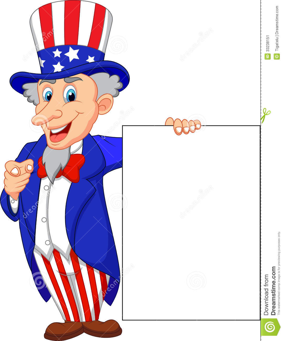 Uncle Sam Cartoon With Blank Sign Stock Image - Image: 33238151