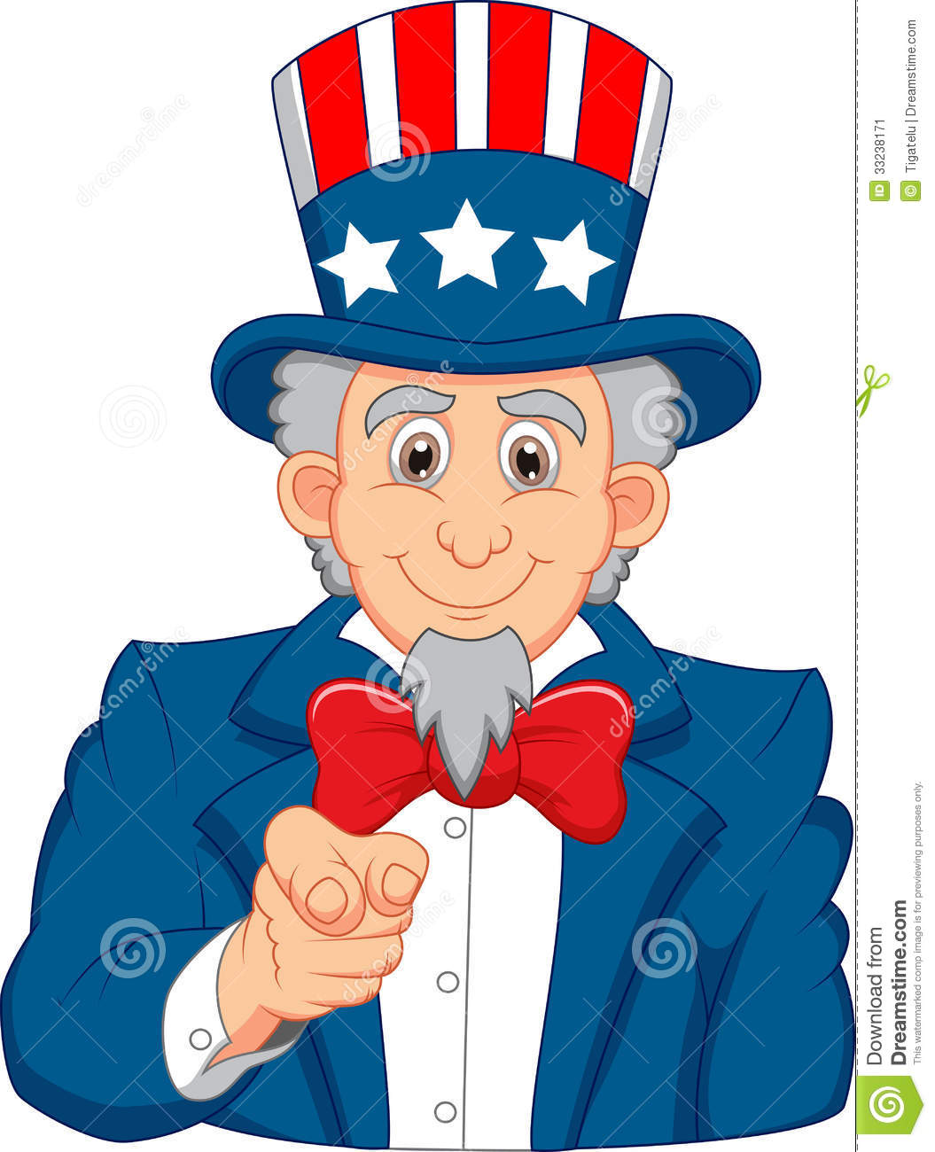 Uncle Sam Cartoon Wants You Stock Image - Image: 33238171