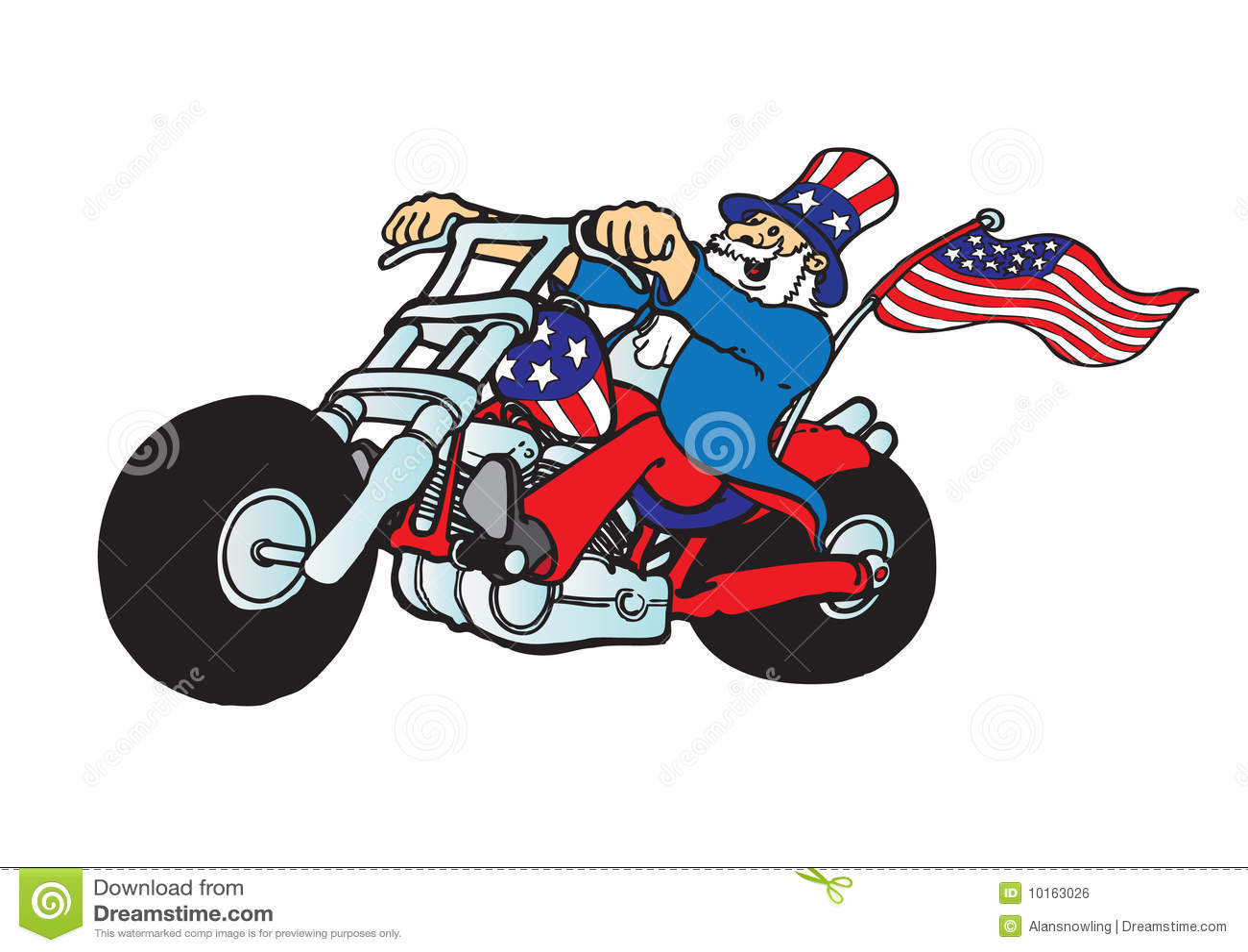 Uncle Sam On Motorcycle Stock Illustration Image Of