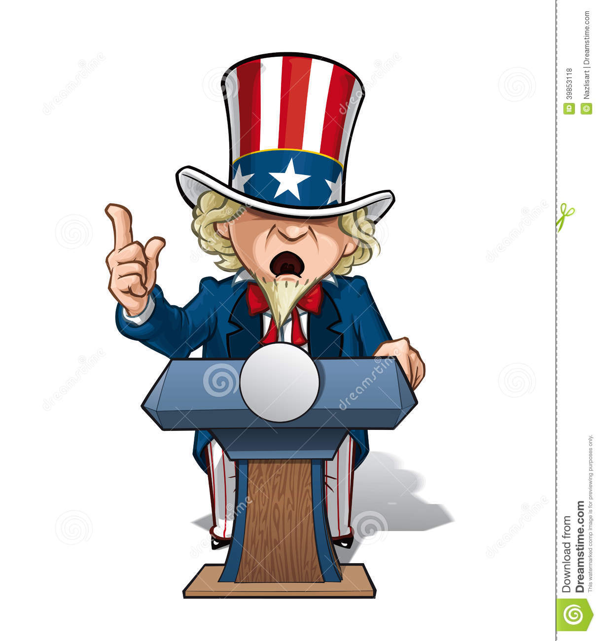 ... of Uncle Sam on the podium, giving a speech with intence expression
