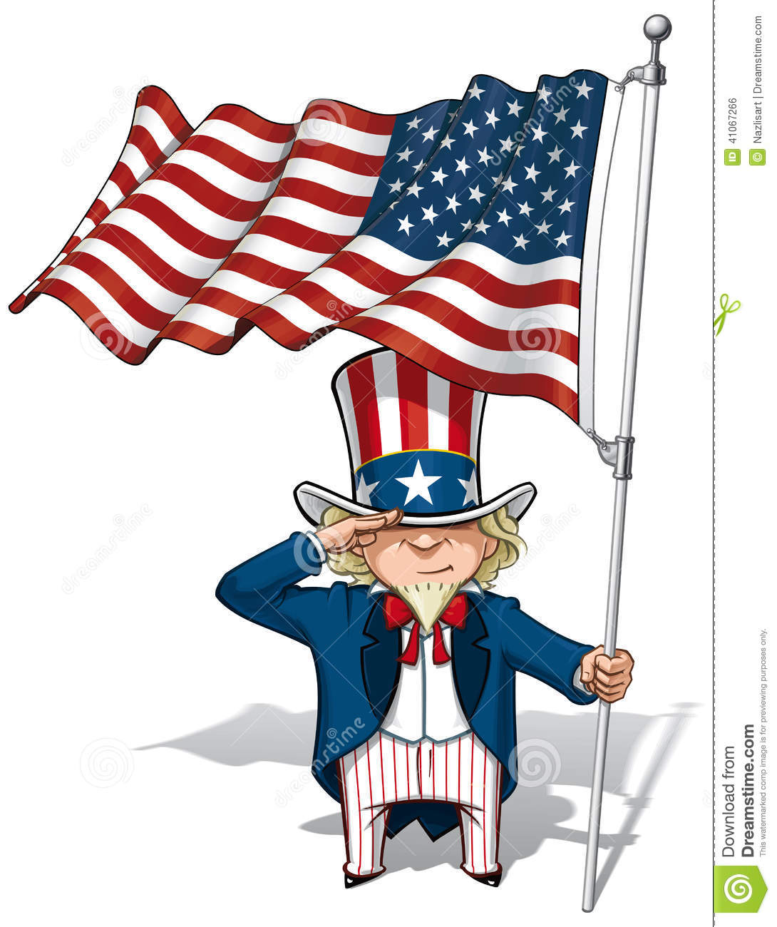 Uncle Sam Saluting The Us Flag Stock Vector Image 41067266