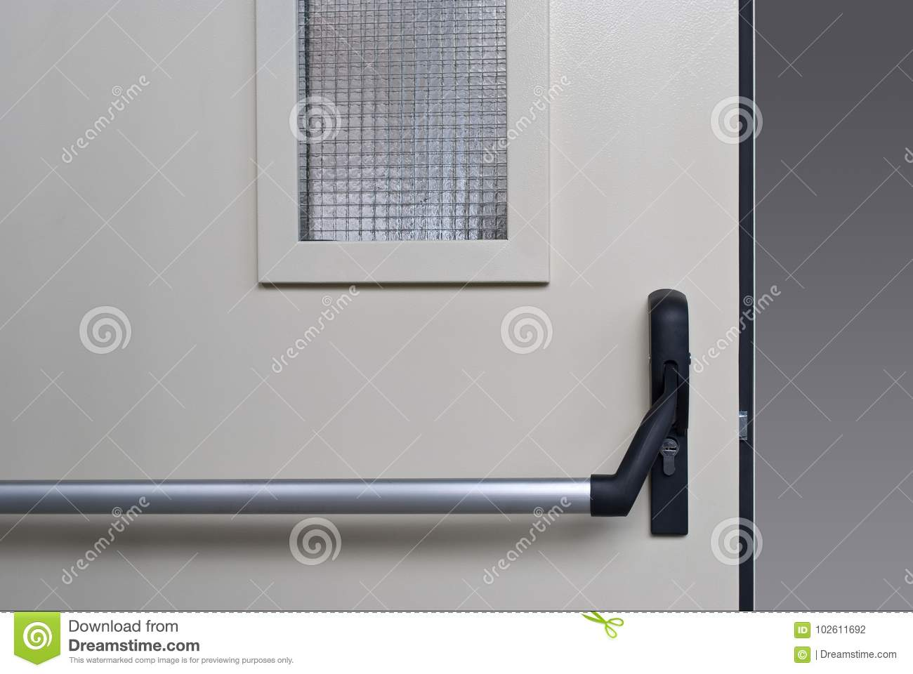 White Outside Door With Long Handle And Glass Stock Photo Image Of