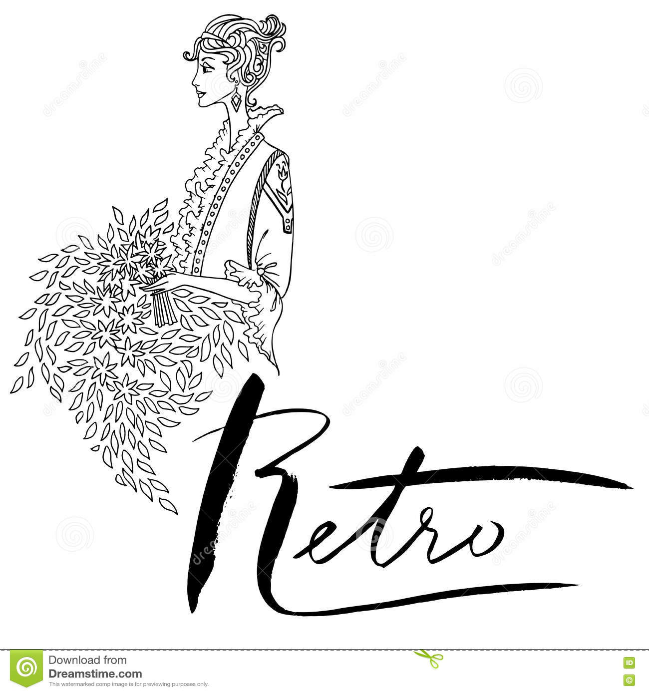 Uncolored Beautiful Fashion Woman Vintage Style Coloring Book In