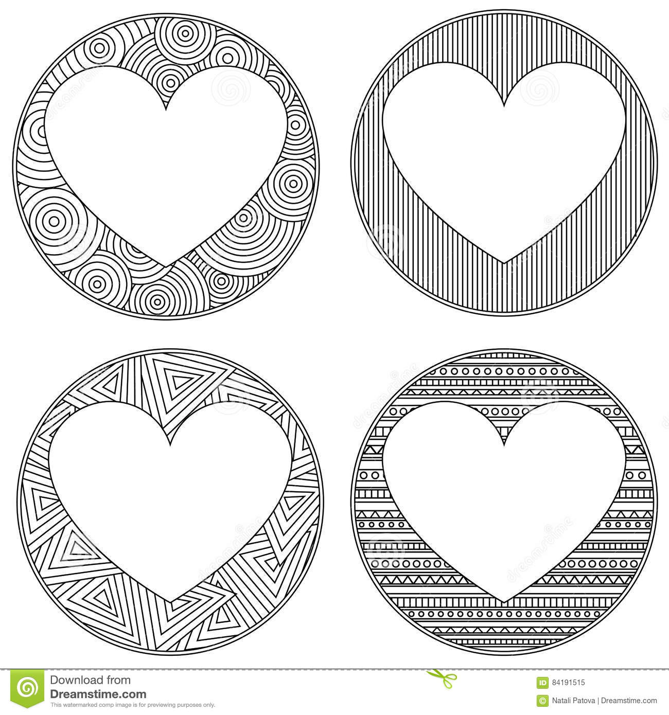 Uncolored Heart Shaped Frame In Zen Art Style With Place For The