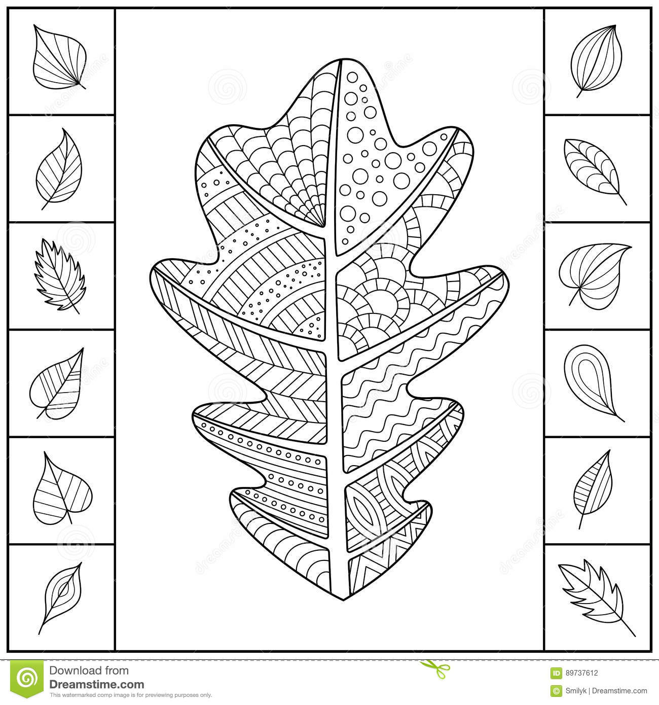 uncolored patterned oak leaf and different simple leaves stock