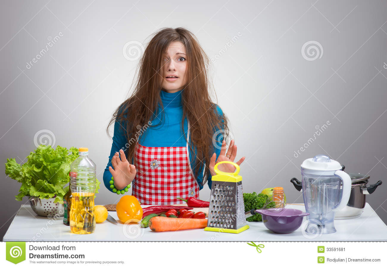 Uncombed Confused Woman In The Kitchen Stock Image Image