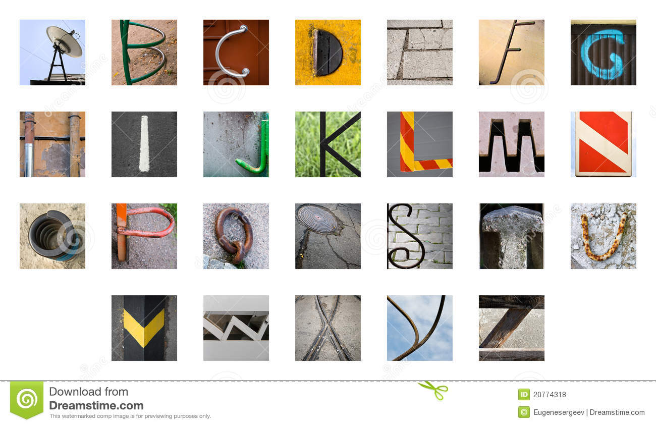 Uncommon abstract English alphabet