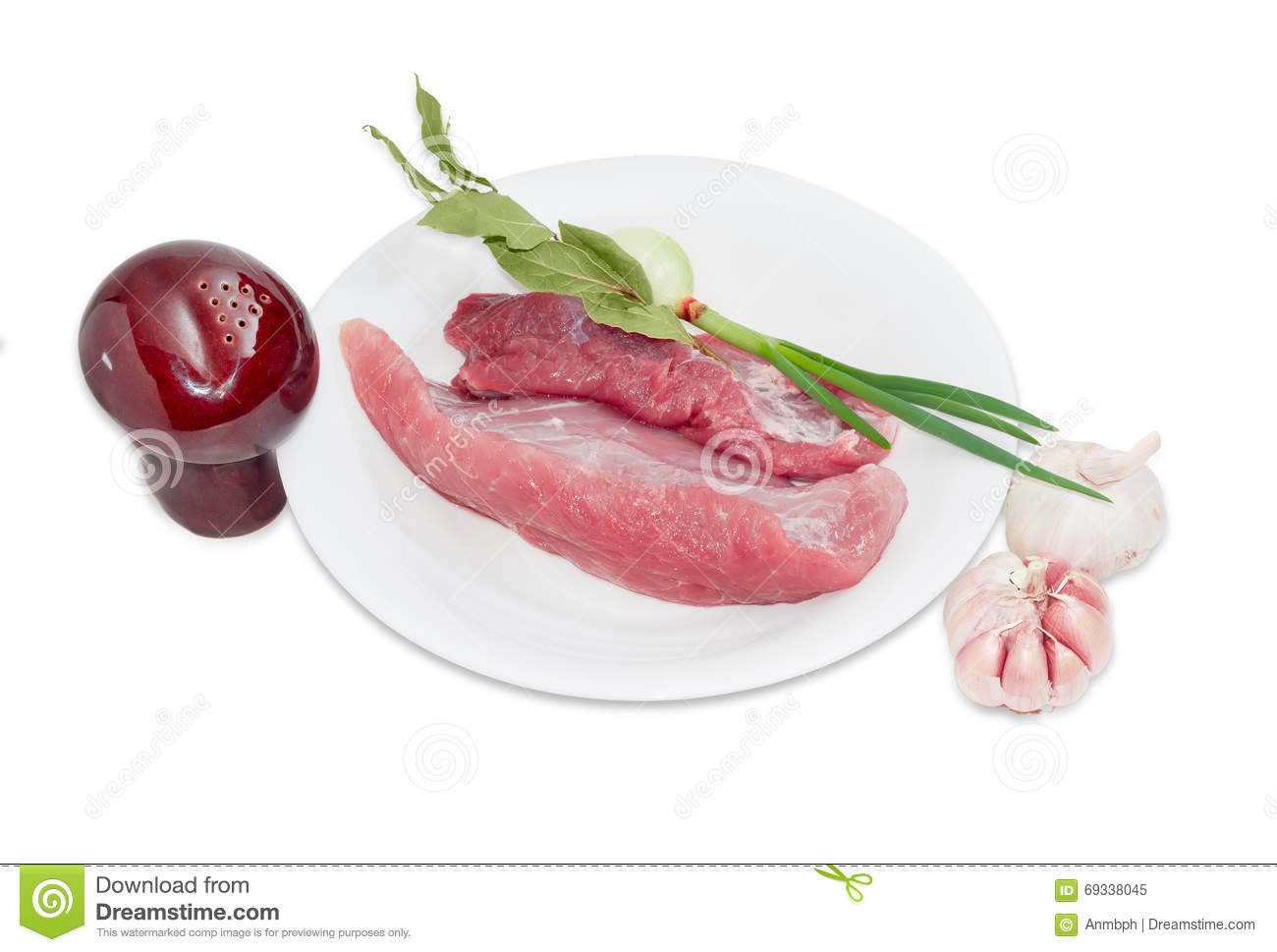 Uncooked Pork, Bay Leaves, Green Onion, Pepper Shaker And