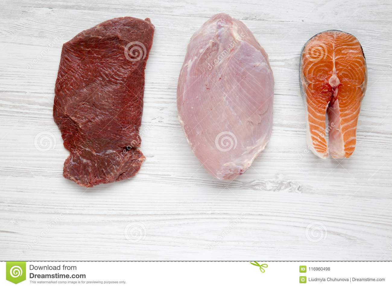 Uncooked raw beef meat, turkey breast and salmon steak on white wooden background, top view. Flat lay.