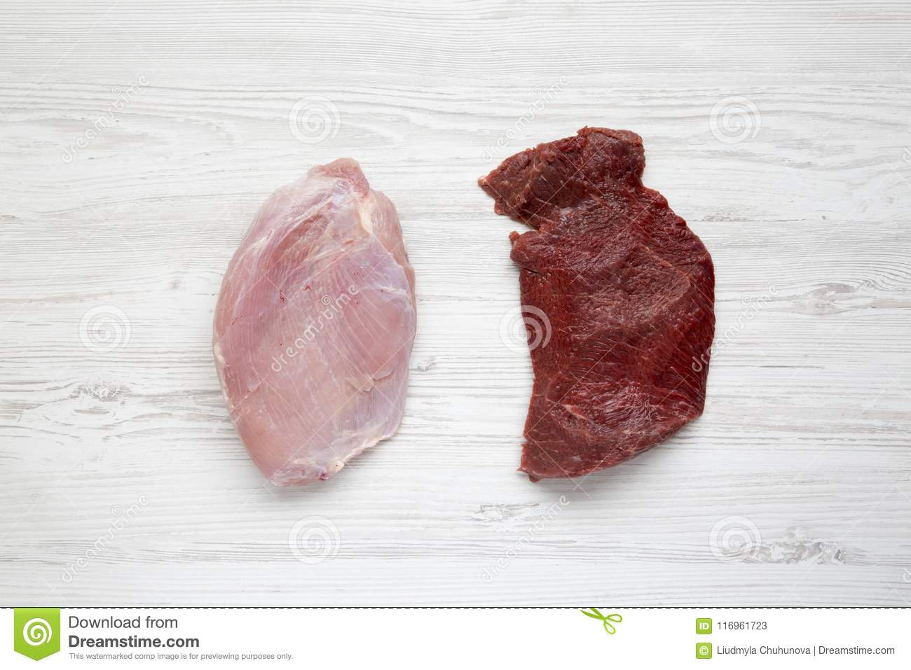Uncooked raw beef meat and turkey breast on white wooden background, top view. Flat lay.