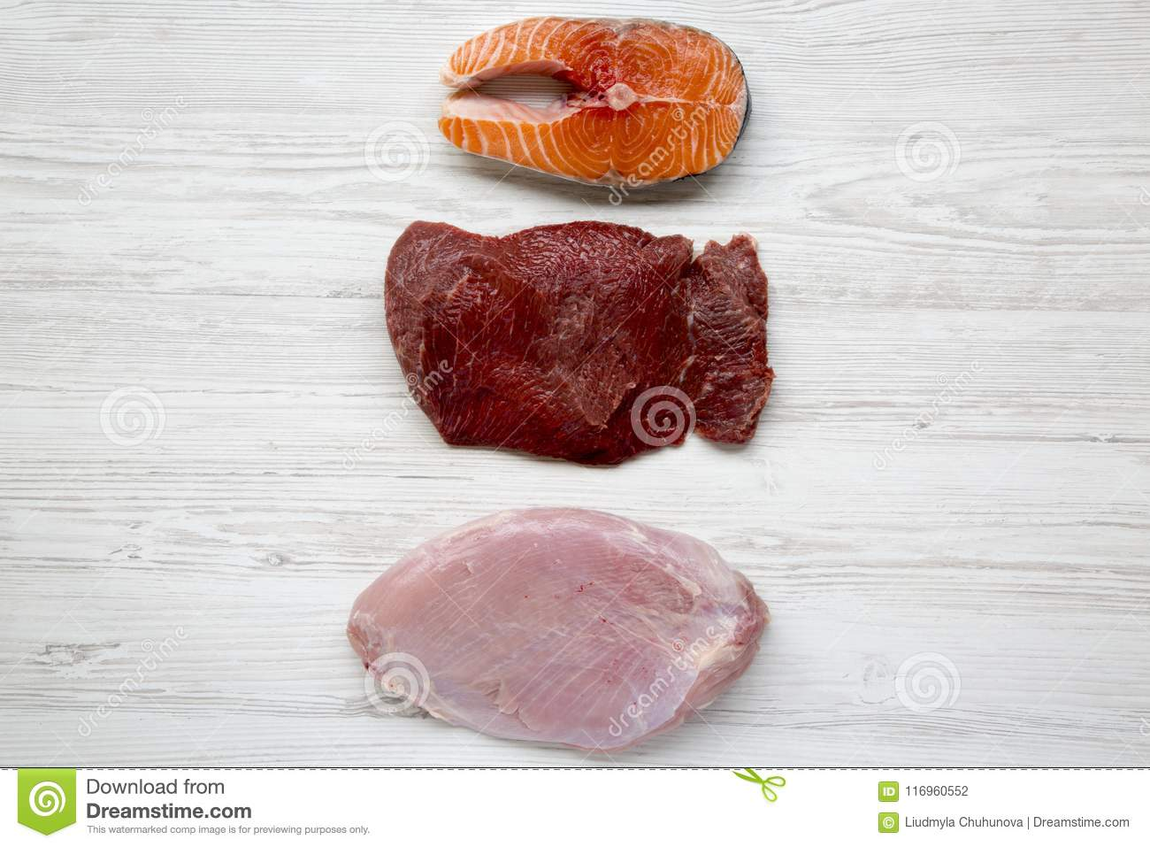 Uncooked raw salmon steak, beef meat and turkey breast on white wooden background, top view. Flat lay.