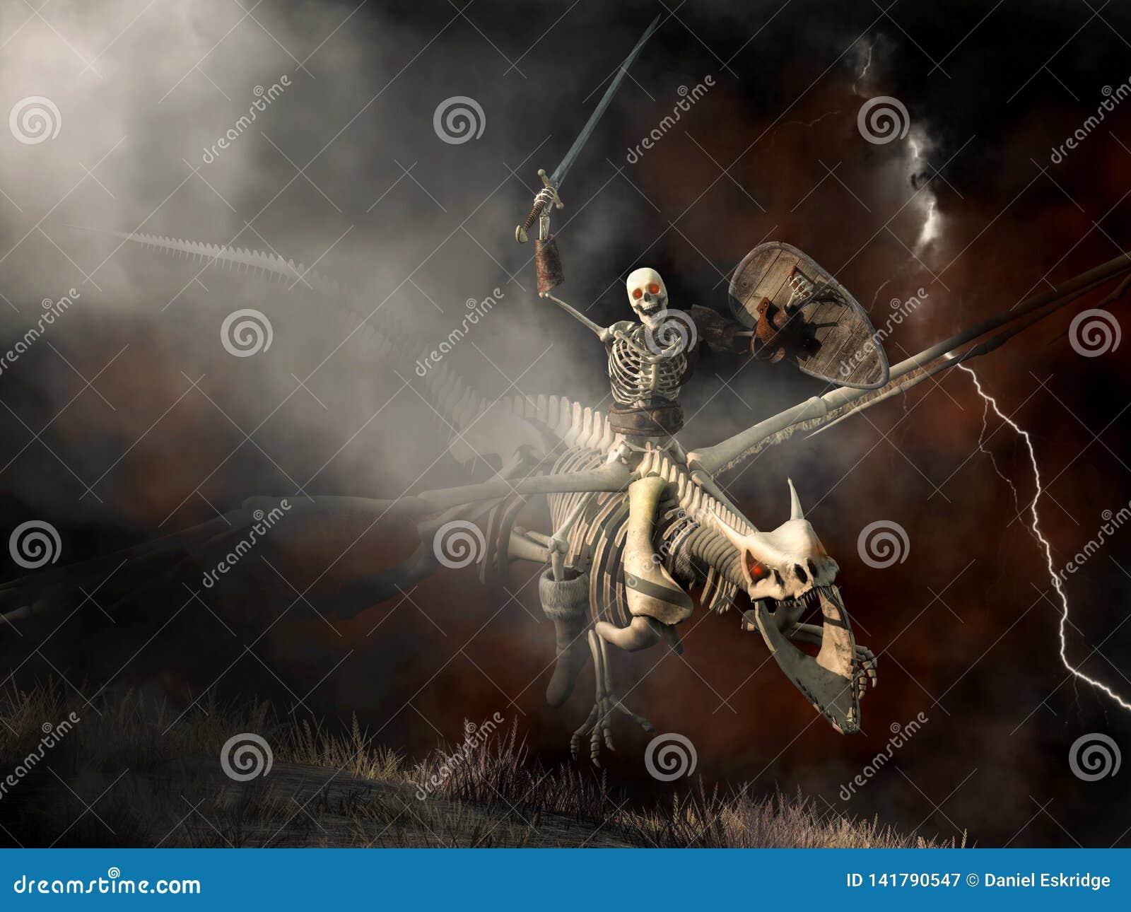 Undead-Drache und Skelett-Reiter