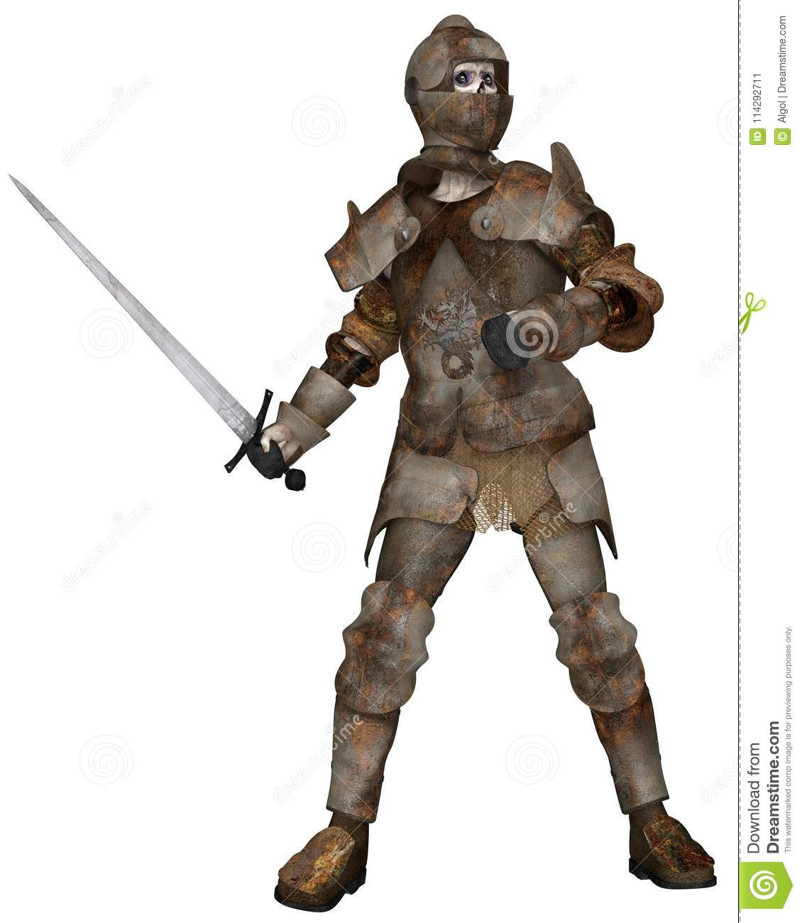 Undead Zombie Knight in Attacking Pose